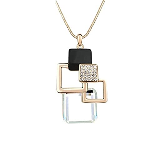 Plated Real Gold Cube Small Station Fine Sweater Chain Ladies