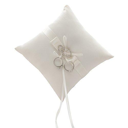 awtlife double-heart Rhinestone anillos de boda almohada Marfil cojín portador 7Inch