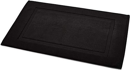 Amazonbasics - tappetino per il bagno, con fascia decorativa, colore: nero