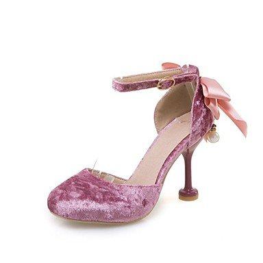 LvYuan Damen-Sandalen-Hochzeit Kleid Party & Festivität-Vlies-Stöckelabsatz-Komfort D'Orsay und Zweiteiler Club-Schuhe-Rosa Rot Beige Red