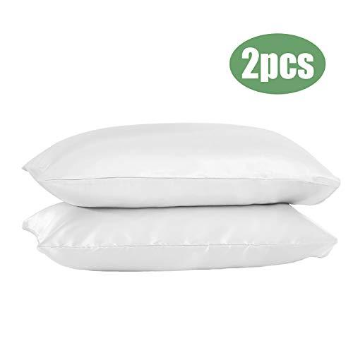 GLAUCUS 2pcs Funda de Almohada de Seda Natural para Cabello y Piel Reversible Suave y Transpirabilidad Cubre de Satén Pelo Rizado Estándar Tamaño 51 * 76cm (Blanco)