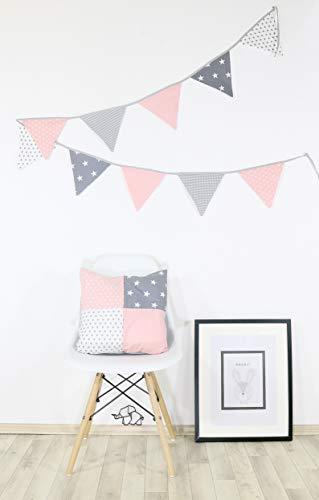 ULLENBOOM ® Patchwork Kissen 40x40 cm mit Füllung Rosa Grau (100% Baumwolle, ideal als Dekokissen oder Kinderzimmer Zierkissen, Motiv: Sterne)