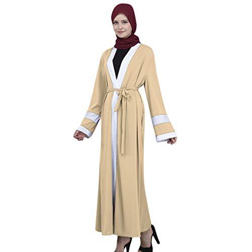 Andouy Abaya Muslimische Strickjacke Jilbab Robe Dubai Stil Einfarbig Panel Langes Kleid mit Gürtel(L(42).Khaki)