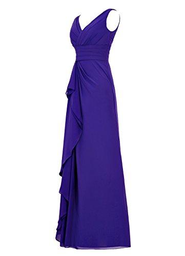 Dresstells, Robe de soirée mousseline, robe longue de cérémonie, robe longueur ras du sol de demoiselle d'honneur Blanc