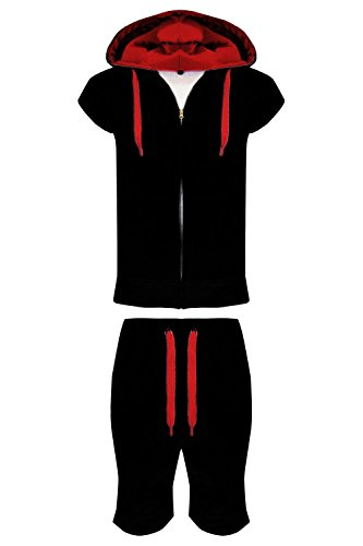 Men's Contrast Draw Code Hood Tracksuit PulloverGillet Shorts