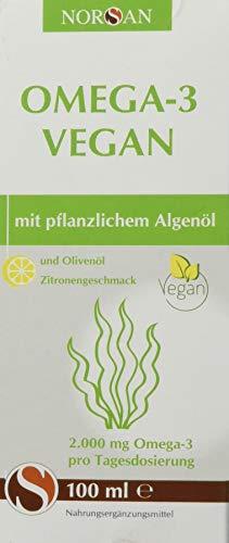 31s3sH3OK8L - Omega-3 Vegan I NORSAN I pflanzliches Algenöl mit Zitronengeschmack I umweltschonend hergestellt I 100 ml Flasche I 2.000 mg Omega-3 pro Portion