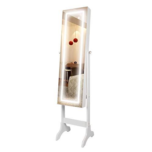 Ezigoo specchio portagioie da parete a specchio con luci a led touchscreen - armadietto portagioie senza cornice