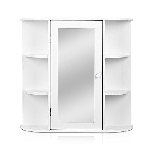#HOMFA Landhaus Spiegelschrank Hängeschrank Badezimmerschrank Badspiegelschrank Wandschrank Badschrank Medizinschrank Wandboard Regal Weiß 66x17x63cm (Spiegelschrank Weiß xxl)#