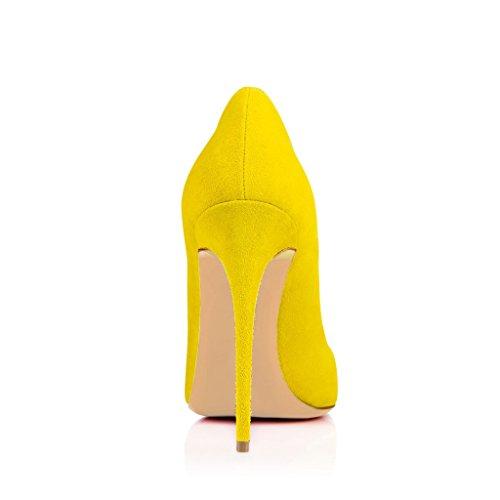 SHOFOO - Femmes - Escarpins - Cuir de daim synthétique - Plusieurs coloris - Talon aiguille - Bout pointu fermé Jaune