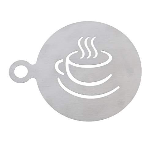 F Fityle Kaffee Schablonen aus Edelstahl Kaffeetasse Stil Schablonenkunst für Alle Arten von Mousse, Kuchen, Geburtstagskuchen, Kaffee