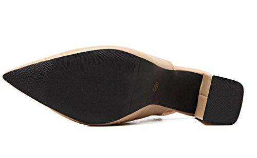 YCMDM Femmes Pointu Boucle Boucle Peau Boucle Talons Hauts Et Printemps Eté Chaussures Nouvelle Mode Simple Black