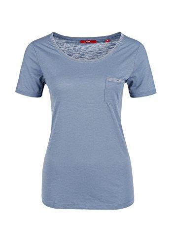 S.Oliver - Damen T-Shirt mit Brusttasche Blue Steel
