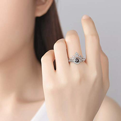 Clothful Clearance ??, 100 Languages I Love You Romantic Gift Ring Two in One Diamond Ladies Jewelry Silver