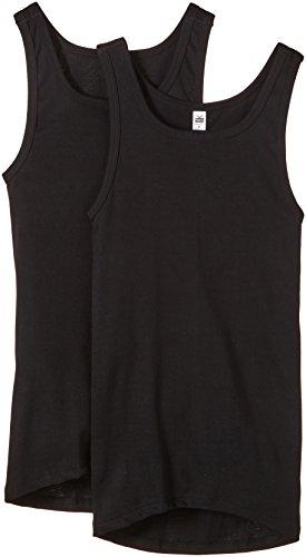 Trigema Herren Unterhemd Feinripp, 2er Pack, Einfarbig, Gr. Large (Herstellergröße: 7), Schwarz (schwarz 008)