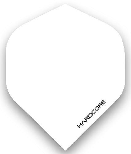 Hardcore Weiß Extra Dicke Standard Dart Flights - 5 Sätze pro Packung (15 Flights insgesamt) & Red Dragon Checkout Card (Dicke Dart Flights)