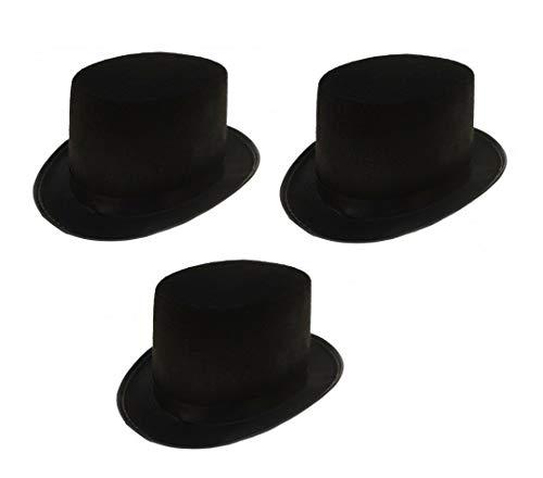 Sonnenscheinschuhe® Dreierpack: 3 x Zylinder Hut schwarz Fastnacht Fasching Karneval Kostüm schwarzer ()