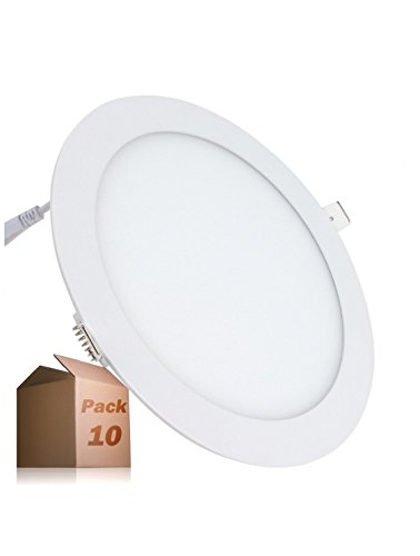 Led Atomant Pack 10x Panel Downlight Led Redondo Plano, 18 W, Blanco Neutro 4500K, 1600 Lumenes reales! Driver Incluido, Corte Standard 200 mm,