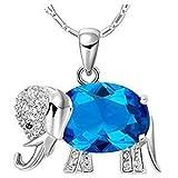 DIOOR Dior Jewellery Damen-Halskette mit Elefanten-Anhänger, Kristall, Silber/Gold