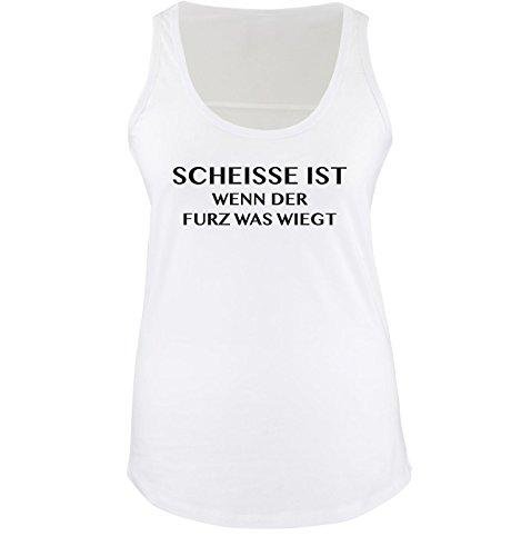 Comedy Shirts Scheisse ist - Wenn der Furz was wiegt - Damen Tank Top - Weiss/Schwarz Gr. M - Fürze Riechen