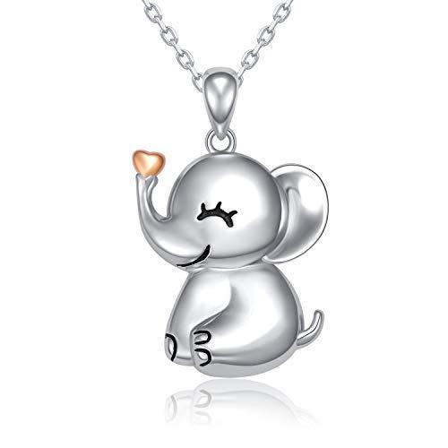 MANBU - Collar con Colgante de Elefante de la Suerte, Plata de...