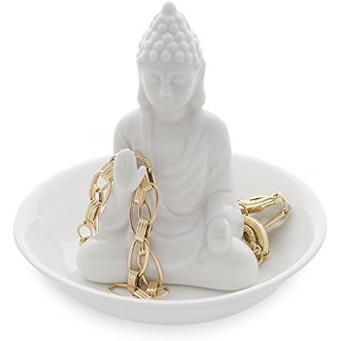 Balvi - Buddha porta anelli in ceramica. Vassoio per anelli e gioielli. Realizzato in ceramica. Forma di buddha.