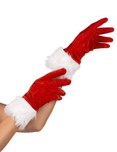 KULTFAKTOR GmbH Weihnachtsfrau Handschuhe rot-Weiss Einheitsgröße