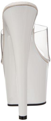 Pleaser Adore-701, Sandales  Bout ouvert femme Blanc (Clr/Wht)