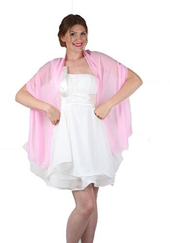 ROBLORA, châle en mousseline, étole, écharpe pour robe de soirée, de différentes couleurs, taille 35 x 170 cm Rose