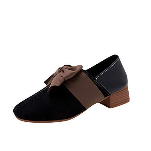 NMERWT Frauen Volltonfarbe Flache Spitzen Schuhe mit Bogen Neu Fashion Damen Sommer Sandalen Herde Butterfly-Knot Round Toe Freizeitschuhe (Camper E-herd)