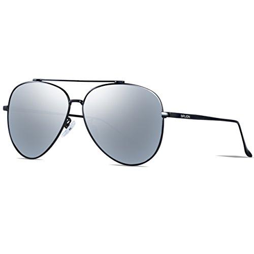 SIPLION Herren Pilotenbrille Polarisierte Sonnenbrille 8002-Silver