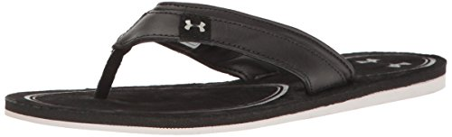 Under Armour Women's TropicFlo Leather Thong, Black/Gray Matter, 11 B(M) US