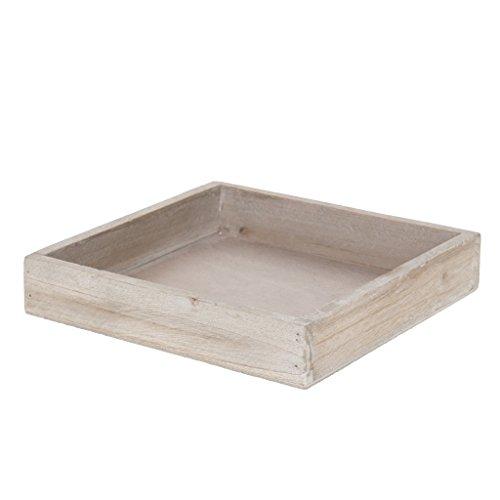 Plateau en bois - 20 x 20 x 4 cm - Marron clair - 6 pièces