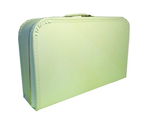 Koffer Pappe, weiß, 40 cm, Pappkoffer mit Trim