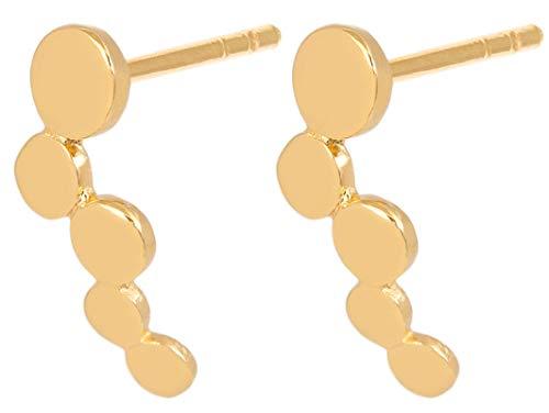 Pernille Corydon Damen Ohrstecker Sheen Earsticks - Mit 5 Runden Mini Plättchen - Hochglänzend 925 Silber Vergoldet - E315g Fine Gold Plate