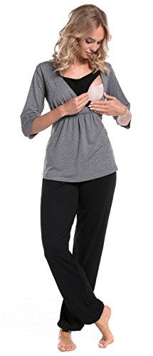 HAPPY MAMA. Damen Umstandspyjama Stillfunktion Stillschlafanzug 3/4 Ärmeln. 060p (Grau Melange & Schwarz, EU 38, M)