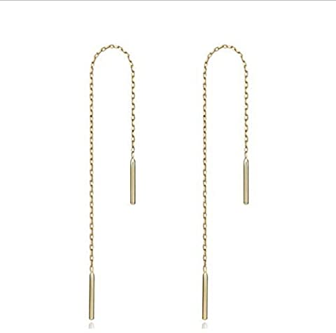 Fashion Simple 925 Sterling Silver Earrings Ear Line Anti-allergic Jewelry For Women And Girls ( Color : Yellow , Size : 8cm