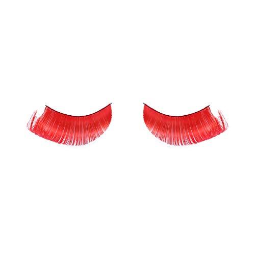 Frcolor Feder Wimpern, bunte Phantasie Make-up Wimpern falsche Wimpern Party Kostüm (rot)