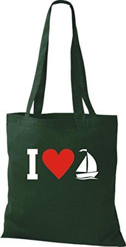 JUTA Borsa di stoffa I LOVE barca a vela, CAPITANO Verde