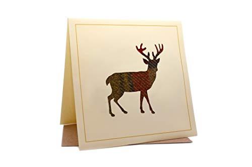 Lambacraft Geburtstagskarte, Hirschmotiv, Tweed, Tartan, Wolle, Stoff, Silhouette, mit blanko Innenseite, 1 Stück -
