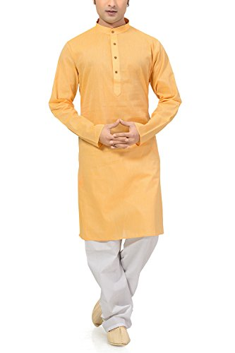 Ishin Cotton Yellow Wedding Wear Festive Wear Casual Wear Party Wear Bollywood Solid New Collection Latest Design Trendy Men's Kurta Pyjama (Pajama) Set  available at amazon for Rs.799