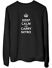 T-Shirtshock Felpa Girocollo Donna Nera TKC1300 Keep Calm And Carry Nitro 65dcae56b07