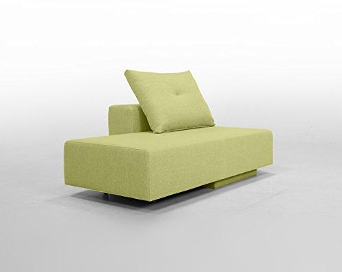 Minisofa BonBon2 - kleines Sofa Recamiere Schlafsofa - pflegeleichter weicher Mikrofaserstoff in grau, Kissen im Lieferumfang enthalten (Grasgrün)