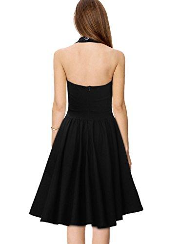 Miusol Damen Sommerkleid Neckholder Stretch Rockabilly Retro Cocktailkleid 1950er Party Kleid Schwarz Groesse 36/38/S -