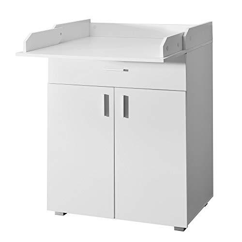 FineBuy Wickelkommode Weiß 75x100x50 cm aufklappbarer Wickeltisch Wickelauflage | Baby Kommode mit Tischauflage