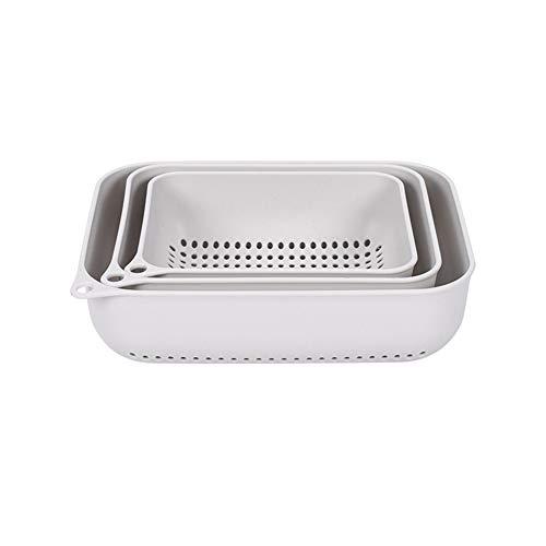 MFHYSJ Wall-Mounted Thickened dishwashing Drain Basket Kitchen Creative Plastic Taobao Basket Household Hollow Storage Fruit Plate, Gray White -