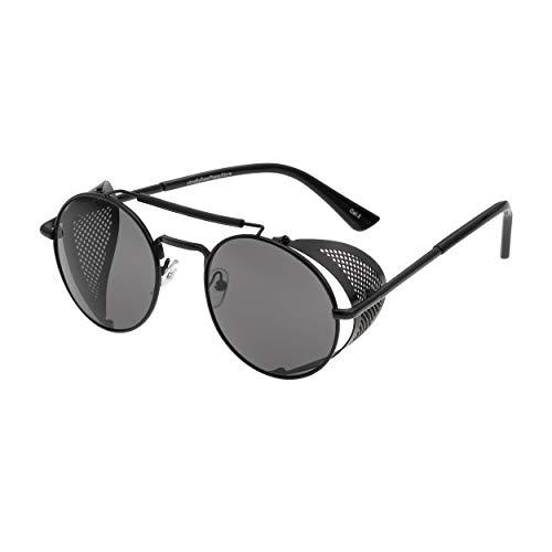 Ultra Schwarz mit Schwarz Linsen Steampunk Sonnenbrille Tiefe Scheukappen Retro Damen Herren Rund Gothic Vintage Kupfer Klassisch UV400 Brille