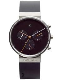 Jacob Jensen 600 - Reloj cronógrafo unisex, correa de caucho color negro
