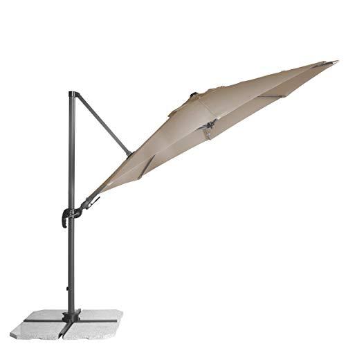 Derby Ravenna AX 330 - Schwenkbarer Pendelschirm ideal für den Garten - Neigbar - ca. 330 cm - Greige