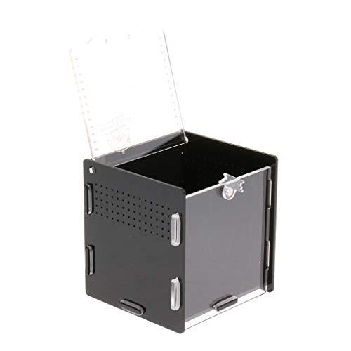 KESOTO Terrarium Insekten Reptilien Fütterungsbox Zuchtbox Transportbox mit Kunstpflanze, Pipette und Pinzette - Schwarz