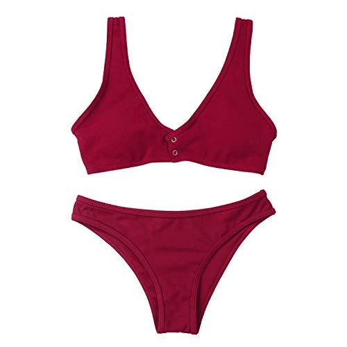 FGMJD Été Triangle Sangle Dos Ouvert Sexy Gros Seins Bikini Snap Couleur Unie Maillot De Bain À La Main Split Bikini Rouge_S